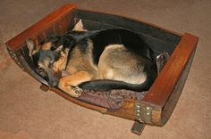Wine Barrel Dog Bed by reWINEddesigns on Etsy, $549.99