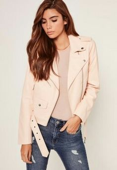 a5107169012b Be the ultimate bad-ass with this nude faux leather jacket in a classic  biker