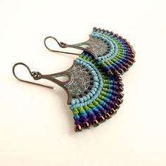 Macrame Earrings Fan Earrings Patina Earrings Peacock