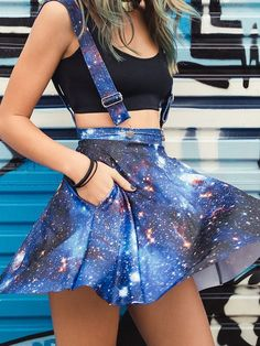 Galaxy Blue Pinafore Pocket Skater Skirt with suspenders #UNIQUE_WOMENS_FASHION