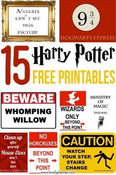15 FREE printable Harry Potter signs to throw a magical Harry Potter Party for halloween, birthday, etc! games for party free printable 15 Free Harry Potter party printables - part 1 - Lovely Planner Harry Potter Motto Party, Harry Potter Thema, Classe Harry Potter, Cumpleaños Harry Potter, Harry Potter Halloween Party, Harry Potter Classroom, Harry Potter Christmas, Harry Potter Birthday, Harry Potter Sheets