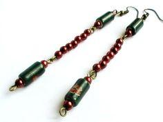 Boucles d'oreilles longues avec des perles de céramique et de rocaille : Boucles d'oreille par bijoux-fait-main-handmade
