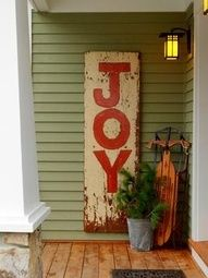 Hand Painted Vintage sign - DIY - Instead of the sign... I would put the word JOY on the Sled! :)