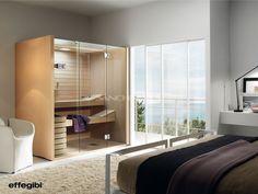 Sauna Sky proyectada por Talocci Design para Effegibi. Esmerados estudios tecnológicos y de diseño. Líneas sencillas. Estéticamente adaptable a cualquier espacio doméstico.