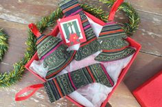 Hmong Christmas Ornaments In Green Batik Set by SiameseDreamDesign