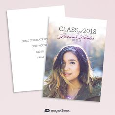 Graduation Cards and Magnets print in vibrant color, allowing your grad's face to shine on everyone's fridge. Change the colors and fonts on any design.