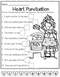 February Print and Do- a no prep math and literacy pack for grade. Punctuation Worksheets, 1st Grade Worksheets, Teaching Punctuation, Valentine Activities, Classroom Activities, Math Literacy, Classroom Ideas, First Grade Writing, First Grade Classroom