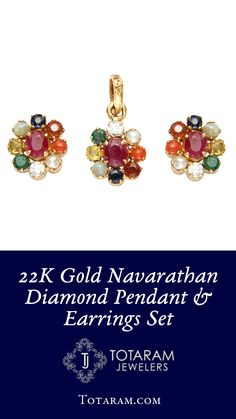 22 Karat Gold Navarathan Pendant with Diamonds and other Precious Stones. Jewelry Design Earrings, Gold Earrings Designs, Emerald Jewelry, Pendant Earrings, Black Earrings, Pendant Set, Diamond Pendant, Pearl Diamond, Rajputi Jewellery
