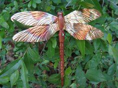 carved cedar wood and copper dragonfly by ADragonflysFancy on Etsy, $6.50