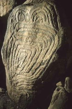 Ancient rock art inside the great Neolithic passage tomb at Knowth, Co. Meath
