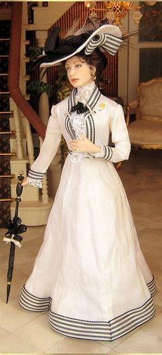 #1908 silk dress Julia  [anne marie dolls] 12 33 4  .. 47.33 4 qw2