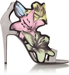Pierre Hardy Lily printed leather and suede sandals
