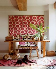 frame fabric on wall ... loving this idea for a Massai linen and a wall in my bedroom