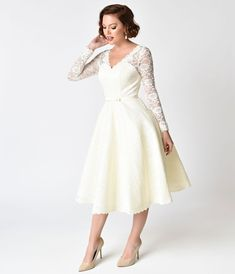 c862cf7f978 Unique Vintage 1950s Style Ivory Lace Long Sleeve Martinique Swing Dress  Vintage Wedding Theme