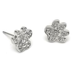 "Let your love for your favorite canine shine with these beautiful Pavé Dog Paw Earrings with Swarovski Crystals. These earrings go perfectly with the Pavé Paw Dangle with Swarovski Crystals and the Dog Paw Charm. It's the perfect tribute to man's best friend and loyal companion.  Earring Features  *Swarovski crystals  *Hypoallergenic surgical steel posts  *Nickel and lead free  *Approximately 3/8"" diameter"