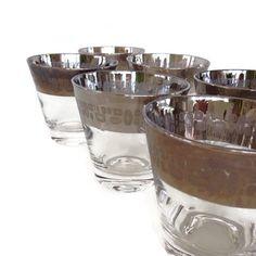 Mid Century Barware Glasses Silver Ombre by MerrilyVerilyVintage