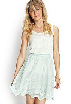 Scalloped Mesh Embroidered Skirt | FOREVER21 - 2000068673
