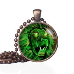 Green Lion Pendant - Lion Necklace - Lion Jewelry - Psychedelic - Neon Animals - Wild Animals - Animal Pendant - Lion Head by KingFamilyCreations