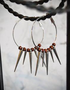 Gold or Silver Spikes & Wood Hoop Earrings by SheriSTRanger, $25.00