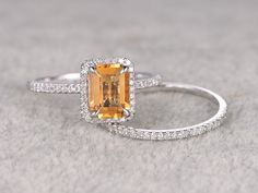 2pcs 6x8mm Natural Citrine Bridal Ring Set,Engagement ring,14k White gold,Diamond wedding band,Claw prongs,Emerald Cut,Gemstone Promise Ring by popRing on popRing