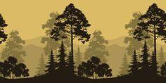 silhouette forest mountain scene - Google Search