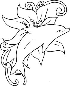 Dolphin The Fish Was Playing In In A Sea Of Flowers Coloring Pages - Dolphin Coloring Pages : KidsDrawing – Free Coloring Pages Online