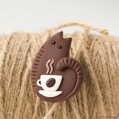 Items similar to Funny Coffee Cat Brooch handmade polymer clay jewelry Pin cup of coffee cute brown cat kitty on Etsy Polymer Clay Cat, Polymer Clay Figures, Polymer Clay Animals, Polymer Clay Projects, Polymer Clay Charms, Handmade Polymer Clay, Polymer Clay Jewelry, Polymer Clay Tutorials, Clay Earrings