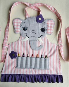 Kids Apron - Craft Apron, Cooking Apron, Garden Apron - Daisy the Elephant- MADE to ORDER- Available in sizes 3/4, 5/6, 7/8
