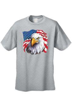 40058bd2e85 Men s USA Flag Bald Eagle Pride w  Tear Short Sleeve T-Shirt GREY (.  SHORETRENDZ