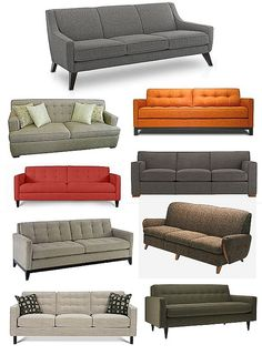 I'm looking for a sofa with clean lines and a midcentury look like these.