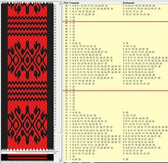 Arabescos 32 cards, 2 colors, repeats every 24 rows GTT༺❁ Inkle Weaving Patterns, Weaving Textiles, Loom Patterns, Card Weaving, Weaving Art, Loom Weaving, Finger Weaving, Inkle Loom, Weaving Projects