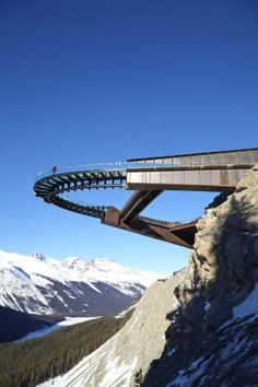 The Glacier Skywalk is a 1475-foot long (450-metre) interpretive walk in Jasper National Park in the Canadian Rockies that juts out of the mountainous landscape and cantilevers outward.