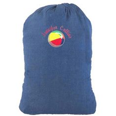 Denim laundry bag embroidered by Initial Impressions