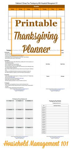 Get ready for a stress free Thanksgiving holiday with this free Thanksgiving planner. It contains 5 printable forms to help you get yourself organized. courtesy of Household Management 101