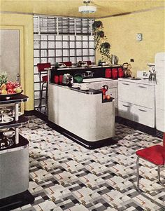 Dwelling Style Floor Strategy - How To Purchase A Home Layout Flooring Approach? 1940 Yellow Armstrong Kitchen Da American Vintage Home 1940s Kitchen, Big Kitchen, Vintage Kitchen, Kitchen Decor, 1940s Decor, Retro Home Decor, Vintage Decor, Retro Vintage, 1940s Home