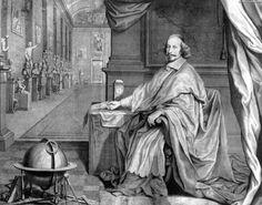 Retrato el cardenal Mazarino en la galería de su palacio (Robert Manteuil, 1659)