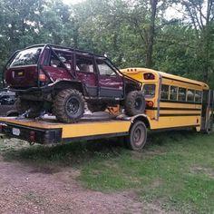 Toy hauler flatbed skoolie conversion.