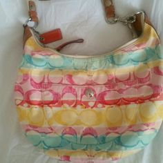 Coach Hobo Bag Colorful Coach bag, medium size, shows some signs of love but overall very good condition. Coach Bags Hobos