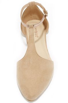 Suede Show Nude Pointed T-Strap Flats at Lulus.com!