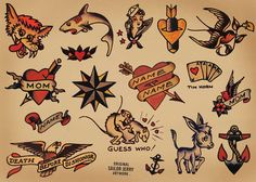 34 Trendy Tattoo Old School Traditional Flash Art Sailor Jerry Traditional Flash, Traditional Tattoo Flash, American Traditional, Traditional Sleeve, Traditional Styles, Tatuajes New School, Tatuaje Old School, Flash Art Tattoos, Sailor Jerry Flash