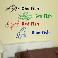 Dr Seuss Wall Decals: Dr Seuss One Fish Two Fish Red Fish Blue Fish Wall Quote Vinyl Wall Art Decal Sticker from VM Reigns. --------------  Get Dr Seuss Wall Decals at Amazon from Wall Decals Quotes Store