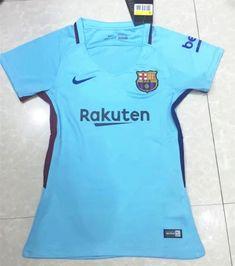 2017-18 Barcelona Away Blue Thailand Female Soccer Jersey AAA