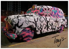 Crocheted London Black Cab by Olek in Tony's Gallery.