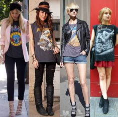 How to wear Vintage Tshirts and look cool! Vintage T-shirts, Moda Vintage, Vintage Tees, Vintage Band Shirts, New Fashion Trends, Retro Fashion, High Fashion, Band Shirt Outfits, Iron Maiden Shirt