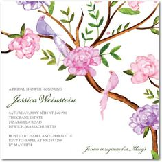 Longing Lovebirds - Signature White Textured Bridal Shower Invitations - Mindy Weiss - White : Front