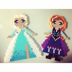 Elsa and Anna - Frozen perler beads by perlermom