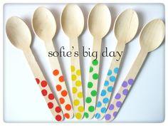Hand Stamped Wooden Spoons Rainbow Polka Dot Ice by SofiesBigDay Rainbow Parties, Rainbow Birthday Party, Rainbow Theme, Birthday Parties, Birthday Pins, Art Birthday, Birthday Ideas, Third Birthday, Happy Birthday