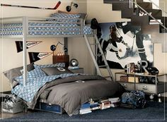 18 Cool And Trendy Teen Boys Bedroom Designs : Amazing Small Floorspace Beige Teen Boys Bedroom Design with Stainless Steel Frame Bunk Bed a...