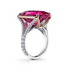 ct Pink Tourmaline and Diamond Ring set in Platinum and Rose Gold Jewelry Art, Gemstone Jewelry, Silver Jewelry, Jewelry Design, Women Jewelry, 925 Silver, Jewellery, Jewelry Rings, Sapphire Wedding Rings