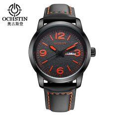 New Real 2017 Brand Ochstin Men's Watch Men Date Clock Casual Quartz Leather Wrist Sport Watches Military Army Relogio Male  #Affiliate